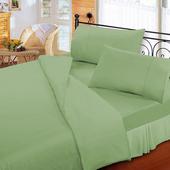 《FITNESS》純棉素雅單人床包枕套二件組-綠(3.5x6.2尺)