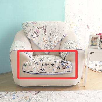 HomeBeauty 極度涼感精梳棉沙發布坐墊-1人椅面(春漫鐵塔)