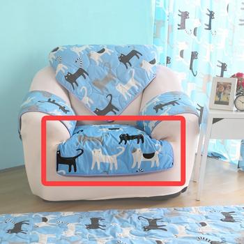 HomeBeauty 極度涼感精梳棉沙發布坐墊-1人椅面(藍色喵喵)