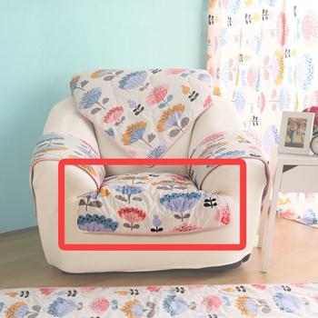 HomeBeauty 極度涼感精梳棉沙發布坐墊-1人椅面(心花朵朵)