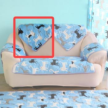 HomeBeauty 極度涼感精梳棉沙發布坐墊-椅背(藍色喵喵)
