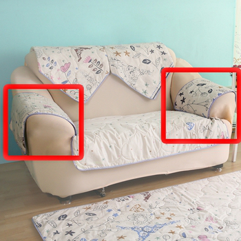 HomeBeauty 極度涼感精梳棉沙發布坐墊-扶手一對(春漫鐵塔)