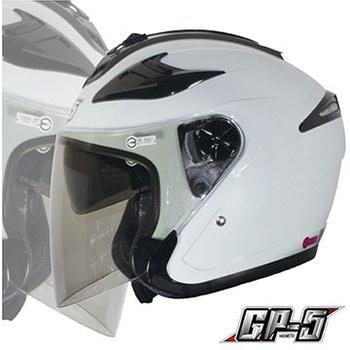 GP-5 【222B 雙鏡片內墨片 3/4 罩安全帽】高級牛皮厚襯、附原廠帽套、品質保證、尺寸S-XXL(白S)