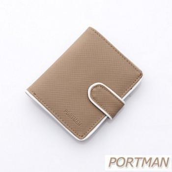 PORTMAN 簡約防水對折短夾PM122002(中性卡其)