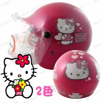 KK 愛心HELLO KITTY 兒童安全帽、品質保證、半罩附鏡片(桃紅M)