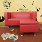 《時尚屋》小龐帝克二人座L型鐵腳沙發四色可選(磚紅色)