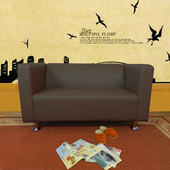 《時尚屋》小龐帝克二人座鐵腳沙發四色可選(咖啡色)