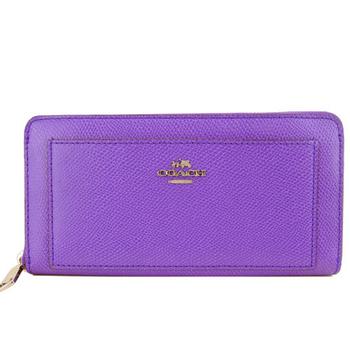 COACH 馬車防刮皮革ㄇ字拉鍊長夾 F52648(紫)