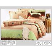 《名流寢飾家居館》淘氣北極熊.100%精梳棉.標準雙人床包組(5*6.2尺  棕)
