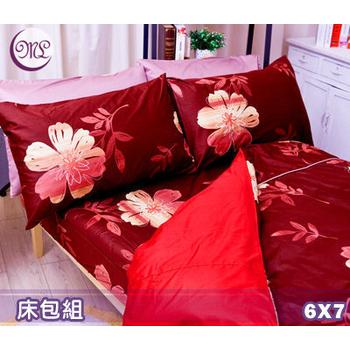 《名流寢飾家居館》風情萬種.100%精梳棉.特大雙人床包組_三色可選(6*7尺   紫紅)