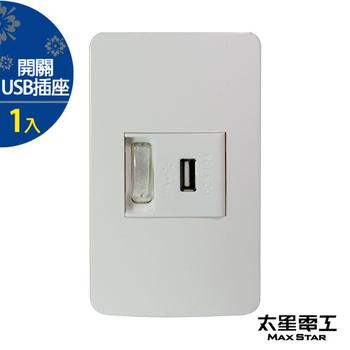★結帳現折★太星電工 聯蓋帶開關-USB單插座(1入) A414D