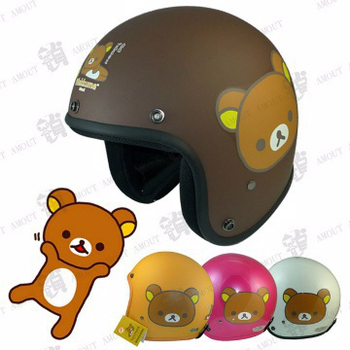 KK 拉拉熊(大臉) 3/4 復古騎士安全帽、尺寸S/M(平橙黃S)