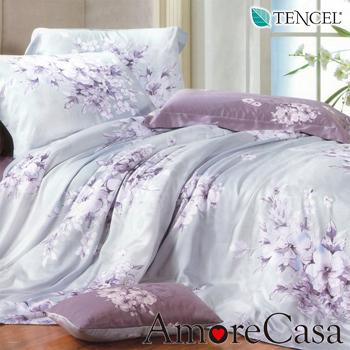 AmoreCasa 花映情懷 100%TENCEL天絲雙人兩用被舖棉床包組