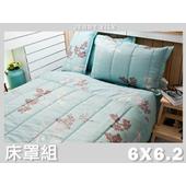 《名流寢飾家居館》點綴春色.100%精梳棉.加大雙人床罩組全套(加大雙人6*6.2尺  藍)