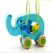 木製可愛動物繞珠早教益智玩具_大象(個)