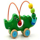 木製可愛動物繞珠早教益智玩具_鱷魚(個)