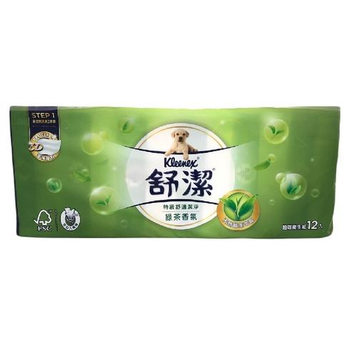舒潔 清新綠茶拉拉抽取式衛生紙(110抽X12包/ 串)