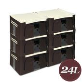 《WallyFun》摺疊防水收納箱 -24L(棕色) -6入組