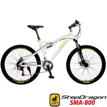 StepDragon SMA-800 26吋 日本Shimano 21速 四連桿避震鋁合金碟煞登山車(白綠)