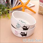 《美國Elite》Oops小黑貓陶瓷寵物碗(粉紅色)