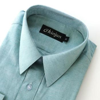 CHINJUN 長袖防皺襯衫(淺綠底斜紋-16吋)