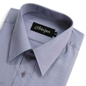 CHINJUN 長袖防皺襯衫(灰底斜紋-16吋)