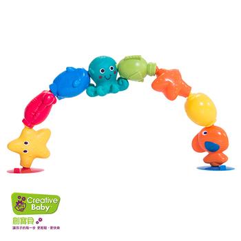 《Creative Baby創寶貝》寶寶接龍洗澡玩具-海洋俱樂部10入/組(Bath Pop Beads)(海洋俱樂部)