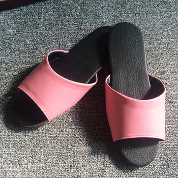 iSlippers 台灣製造-簡約系列-純色皮質室內拖鞋(玫瑰粉M)