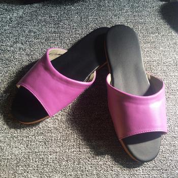 iSlippers 台灣製造-簡約系列-純色皮質室內拖鞋(蘭紫M)