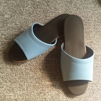iSlippers 台灣製造-簡約系列-純色皮質室內拖鞋(湖藍L)
