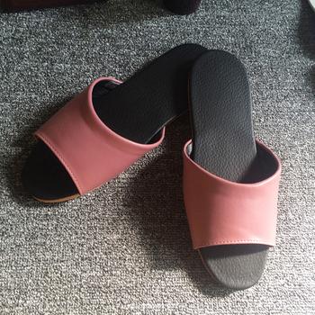 iSlippers 台灣製造-簡約系列-純色皮質室內拖鞋(玫瑰紫L)