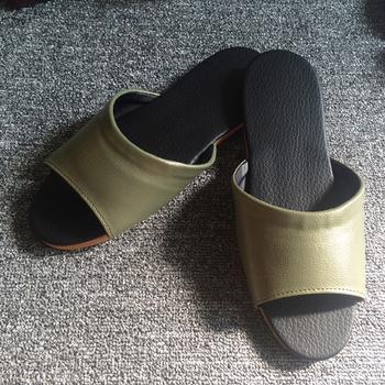 iSlippers 台灣製造-簡約系列-純色皮質室內拖鞋(銅綠L)