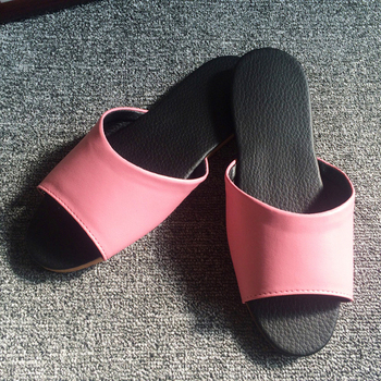 iSlippers 台灣製造-簡約系列-純色皮質室內拖鞋(玫瑰粉L)