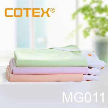 COTEX可透舒 嬰兒床圓點防水透氣舖巾 (床包)(粉綠)