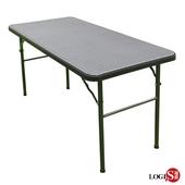 《LOGIS》桌面多用途122*61CM塑鋼折合桌/會議桌/露營桌/野餐桌(黑120塑桌)