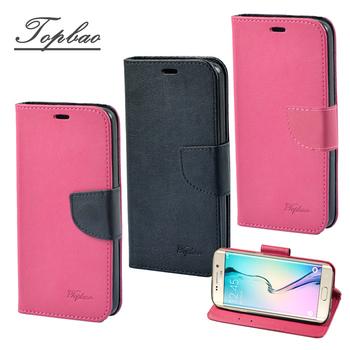Topbao Samsung Galaxy 系列 時尚雙色輕盈側立磁扣插卡TPU保護皮套(S6-玫黑)