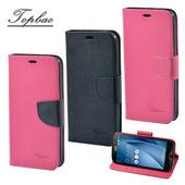 《Topbao》ASUS 系列 時尚雙色輕盈側立磁扣插卡TPU保護皮套(Zenfone 2 (5.5) -玫紅色)
