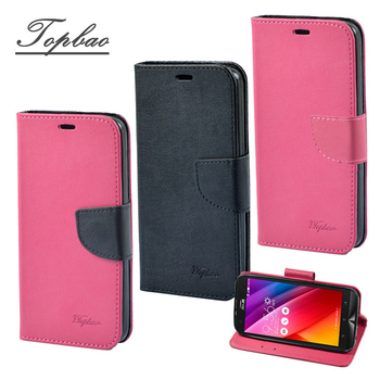 《Topbao》ASUS 系列 時尚雙色輕盈側立磁扣插卡TPU保護皮套(Zenfone 2 laser (5.0) 黑色)