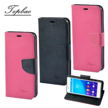 《Topbao》SONY Xperia 時尚雙色輕盈側立磁扣插卡TPU保護皮套(Z3+ 黑色)