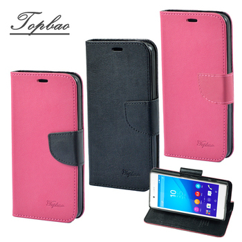 《Topbao》SONY Xperia 時尚雙色輕盈側立磁扣插卡TPU保護皮套(Z3+ 玫黑)