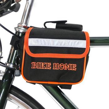 《BikeHome》自行車/腳踏車/折疊車專用上管馬鞍袋/包(黑橘)