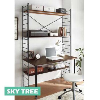 天空樹生活館 書桌/電腦桌/E1環保板材/金屬質感活動層架/象牙白(象牙白)