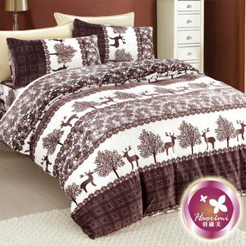 羽織美 踏雪馴鹿 溫暖法蘭絨雙人舖棉床包被套組