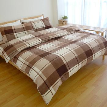 絲薇諾 柔光搖粒絨刷毛床包被套組/雙人標準5尺(日風咖啡方格)