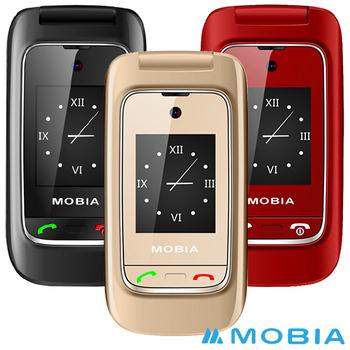 摩比亞 MOBIA M300+ 折疊式雙螢幕2G+3G雙卡 老人手機(贈手機保護套)(艷麗紅)