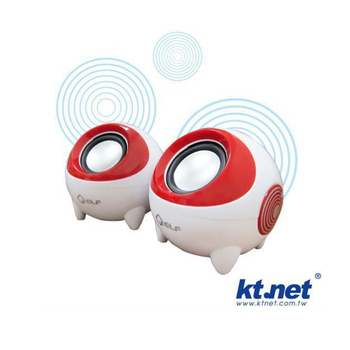 Kt net Q3-大眼睛低音砲多媒體喇叭(紅)