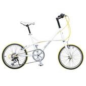 《BIKEONE》CycleOne 日本SHIMANO變速 鋁合金花鼓 20吋7速 時尚海豚小徑車(白)