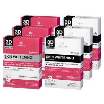 台塑生醫 Dr's Formula亮白肌淨膚面膜6入組(熊果素*3盒+紅石榴*3盒)