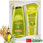 《土耳其dalan》橄欖油小麥蛋白修護魔髮組禮盒(橄欖油小麥蛋白洗髮露+橄欖油小麥蛋白護髮素)買就送歐美香氛皂一入(隨機出貨)
