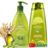《土耳其dalan》頂級橄欖油液體香皂+橄欖油小麥蛋白修護洗髮露(400ml+400ml)買就送歐美香氛皂一入(隨機出貨)